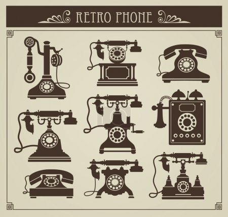 Illustration for The set of vector vintage phones on a gray background - Royalty Free Image