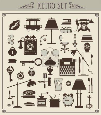 Photo pour Un ensemble d'objets vintage vectoriels isolés - image libre de droit