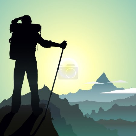 Illustration for Hiking man with rucksack in mountain in the morning - Royalty Free Image