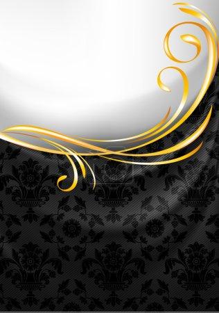 Black fabric curtain, gold vignette
