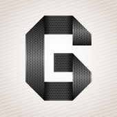 Font from folded metallic ribbon - Latin letter G Vector 10eps