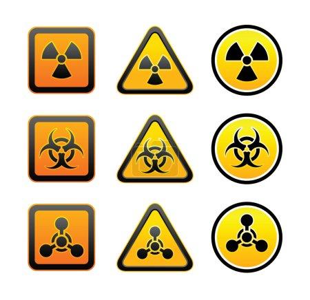 Set hazard warning radiation symbols