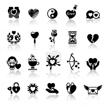 Set valentine's day icons, love romantic symbols