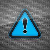 Hazard warning attention symbol on a dark gray metal surface 10eps