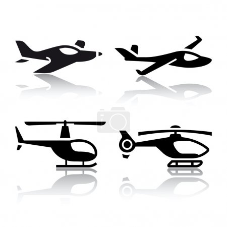Illustration for Set of transport icons - airplane and helicopter - Royalty Free Image