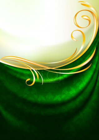 Green fabric curtain with ornament, background, Eps10, Gradient mesh