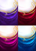 Set fabric curtain with ornament holiday backdrop Gradient mesh Vector 10 eps