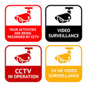 CCTV set pictograms video surveillance set symbol security camera