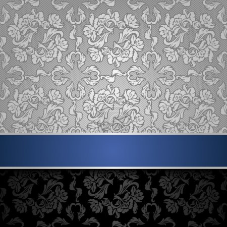 Illustration for Seamless decorative background silver with a blue ribbon - Royalty Free Image