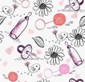 Sweet babies doodle seamless pattern for girl