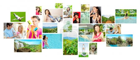 Photo for Set of colorful travel photos of nature, , landmarks and touristic related destinations isolated on white background - Royalty Free Image