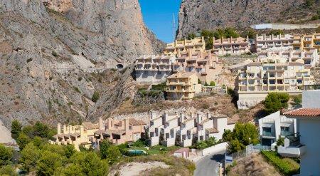 Beautiful house buildings at Spanish landscape. Pueblo Mascarat,