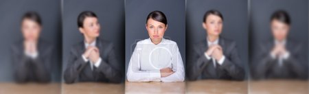 Photo for Collage of young leading employer in focus and her clones in blur in different poses - Royalty Free Image