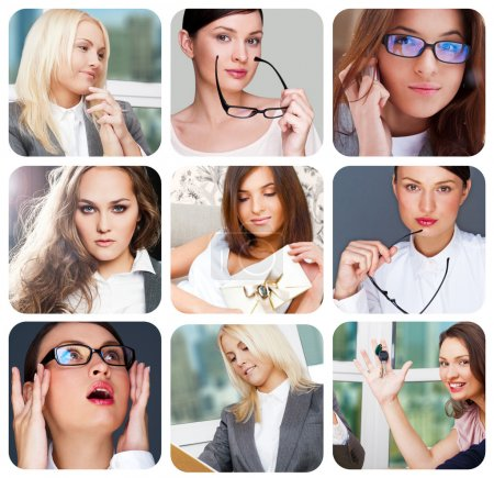 Photo for Collection of 9 square pictures with closeup portraits of different women in different styles. - Royalty Free Image
