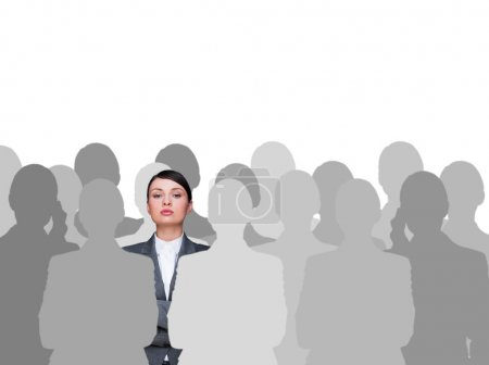 Leader concept. Portrait of young business woman standing with h