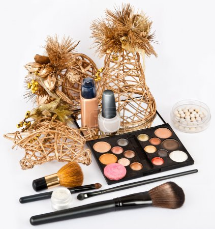 Group of makeup products isolated on white in beautiful Still life