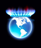 Gas Stove flame as crown of Earth planet.