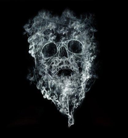 Photo pour Fumer tue sur fond noir - image libre de droit