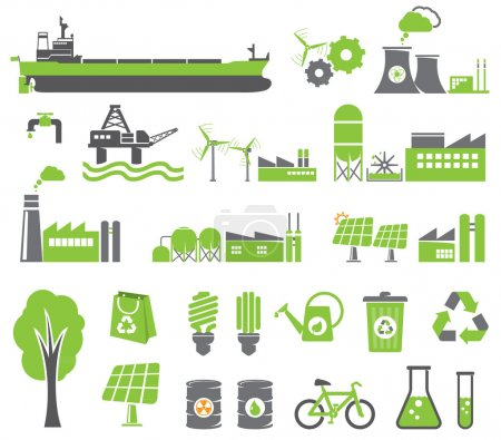 Photo for Green energy symbols, ecology concept, factory - Royalty Free Image