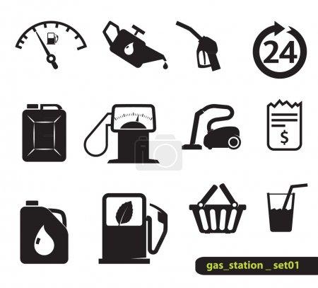 Illustration pour Icônes station essence, ensemble, noir sur blanc - image libre de droit