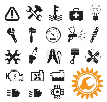 Photo for Car mechanic and service tools, icon set - Royalty Free Image