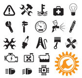 Car mechanic and service tools icon set