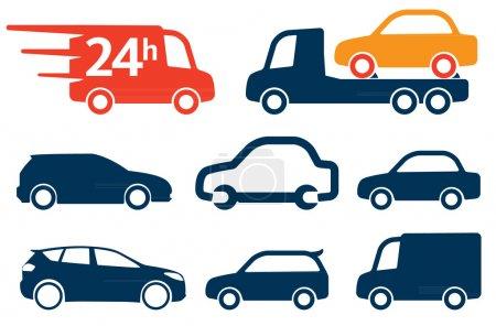 Illustration pour Tout simplement voitures icônes, signes ensemble - image libre de droit