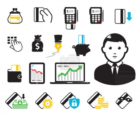 Illustration for POS-terminal and credit card icons - Royalty Free Image