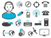 Wireless connection technologies icons and signs set