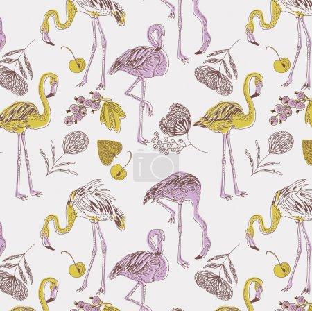 Illustration of purple and yellow flamingos