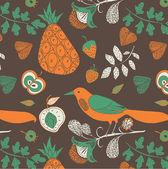 Illustration of fruits twigs birds