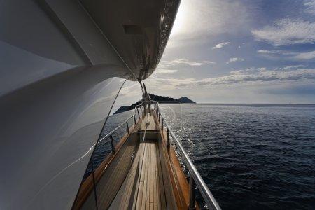 Italy, Tuscany, Elba Island, view of the coastline from a luxury yacht