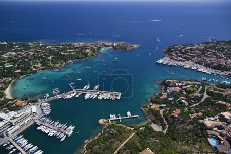 Italy, Sardinia, aerial view of the Emerald Coast