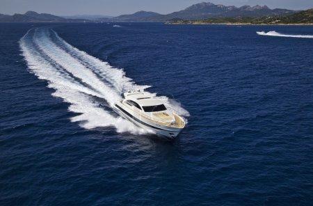 Italy, Sardinia, Tyrrhenian Sea, luxury yacht, aerial view