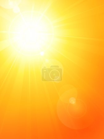Vibrant hot summer sun with lens flare