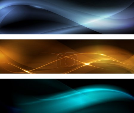 Illustration for Horizontal banner set. Wavy patterns on dark background with light effects. EPS10 - Royalty Free Image