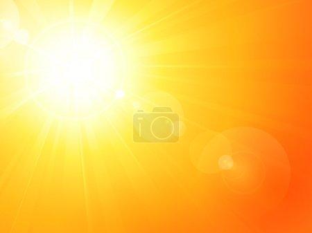Illustration pour Fond d'été avec un magnifique soleil d'été éclaté avec éclat de lentille. Espace pour votre texte. PSE10 - image libre de droit