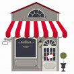 Vector illustration of little cute retro store, sh...