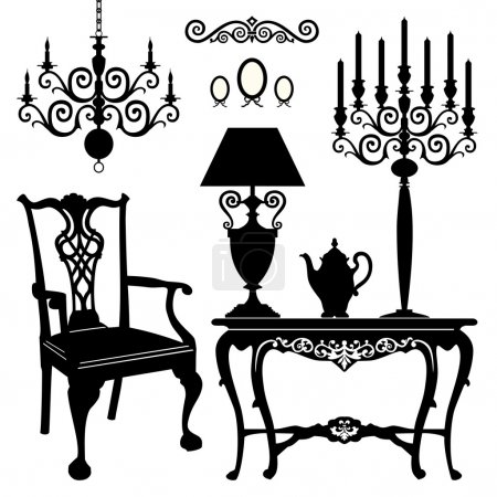 Illustration for Antique decorative furniture collection, black silhouettes of furniture for your design. Vector illustration. - Royalty Free Image