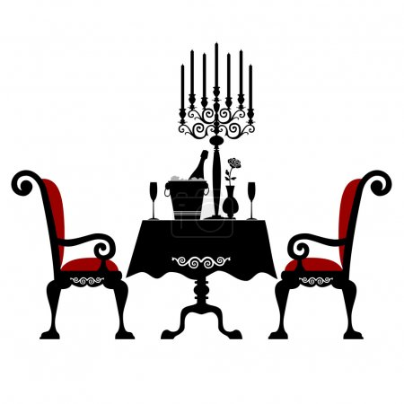 Illustration for Romantic dinner for two with table and two chairs, candle and champagne, vector illustration isolated on white background - Royalty Free Image
