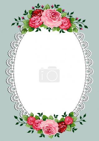 Illustration for Vintage roses oval frame with space for your text or design, invitation template - Royalty Free Image