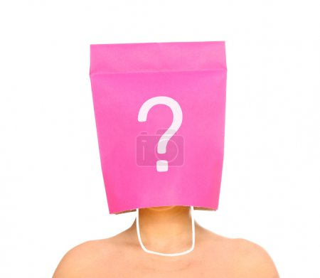 Photo for A portrait of a young woman with her head covered with a pink shopping bag - Royalty Free Image
