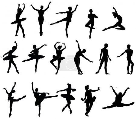 Ballet dancer silohuettes set...