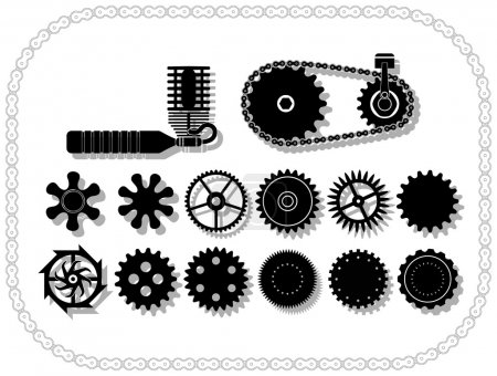 Illustration for Wheels and mechanisms silouhettes inside a bycicle chain frame. Shadows layered in vector size. - Royalty Free Image