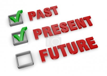 The words: past present and future with check boxe...