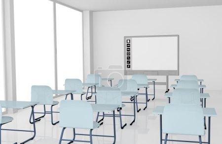 Photo pour Salle de classe avec pupitres scolaires et tableau blanc interactif (rendu 3d ) - image libre de droit