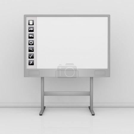 Photo pour Vue de face d'un tableau interactif avec un écran blanc et quelques icônes à gauche (rendu 3d ) - image libre de droit