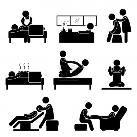 Illustration for A set of pictogram representing massage, spa, therapy, wellness and aromatherapy. - Royalty Free Image