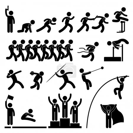 Illustration for A set of pictogram representing sport for field and track game. - Royalty Free Image