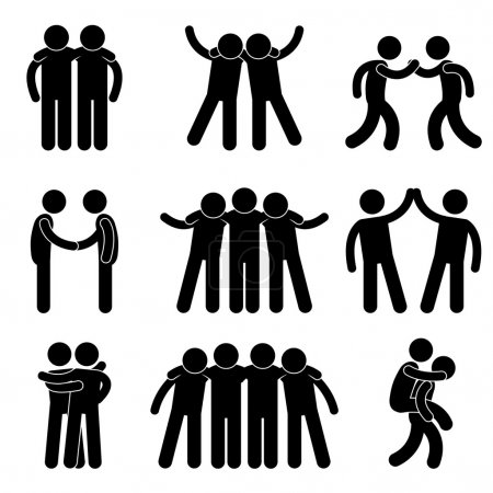 Photo for A set of pictogram representing friend, friendship, relationship, and teammate. - Royalty Free Image